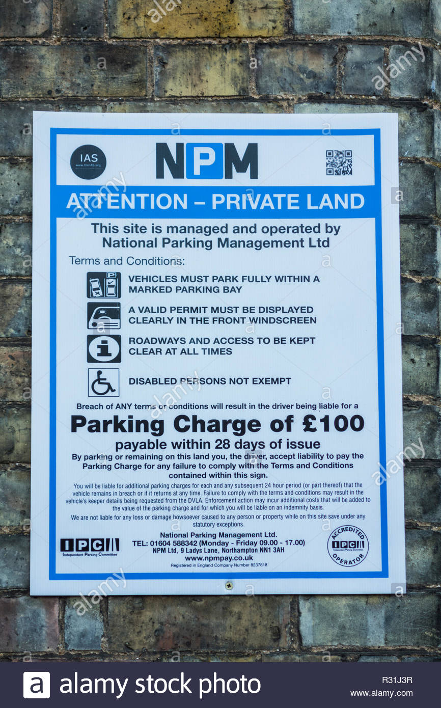 Parking Charge notice  - attention private land. - Stock Image