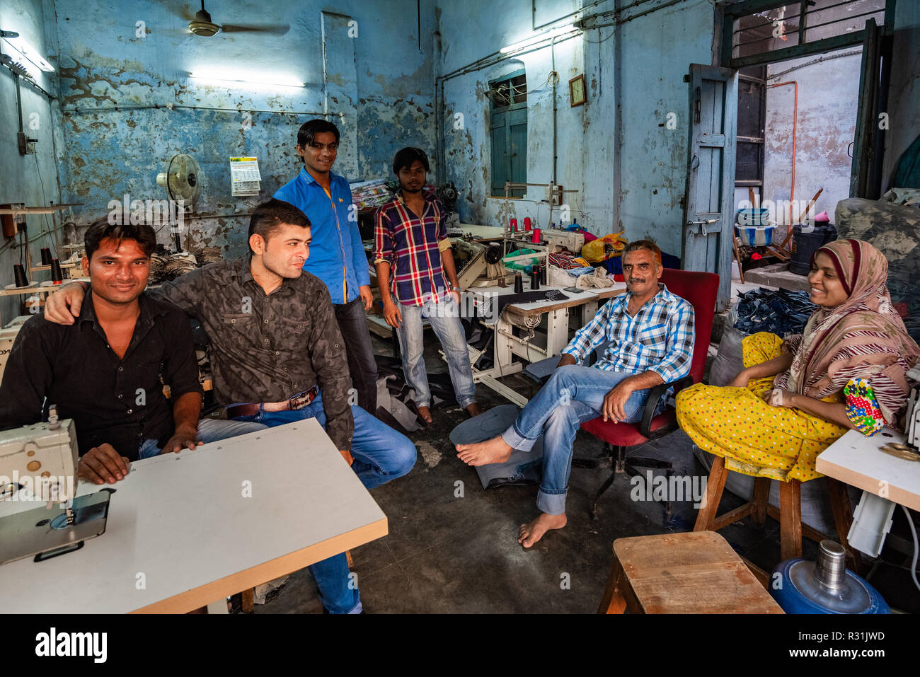 An egg retail wholesaler in Ahmedabad take a moment to pause for a photograph. Gujarat, India. - Stock Image