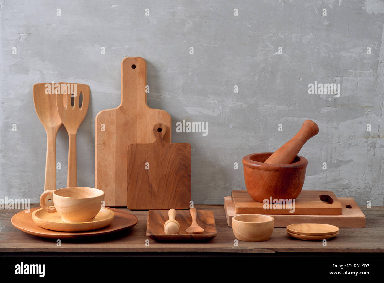 Kitchen Tools Olive Cutting Board On A Kitchen Shelf Against A White Brick Wall Selective Focus Stock Photo Alamy