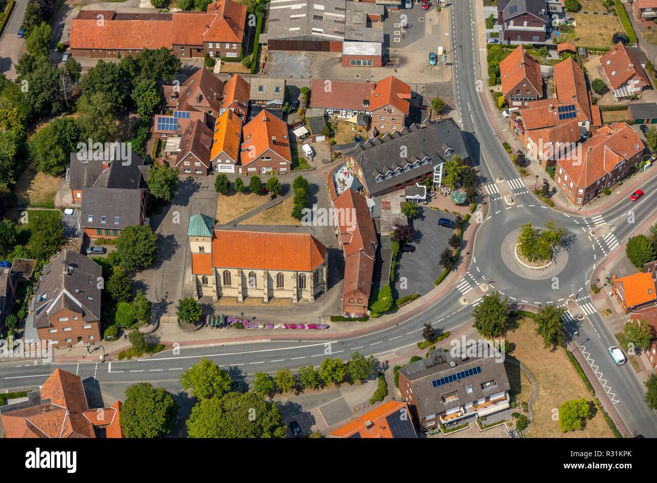 Luftbild, Katholische Filialkirche Sankt Agatha, Alverskirchen, Everswinkel, Kreis Warendorf, Ruhrgebiet, Nordrhein-Westfalen, Deutschland, Europa, DE - Stock Image