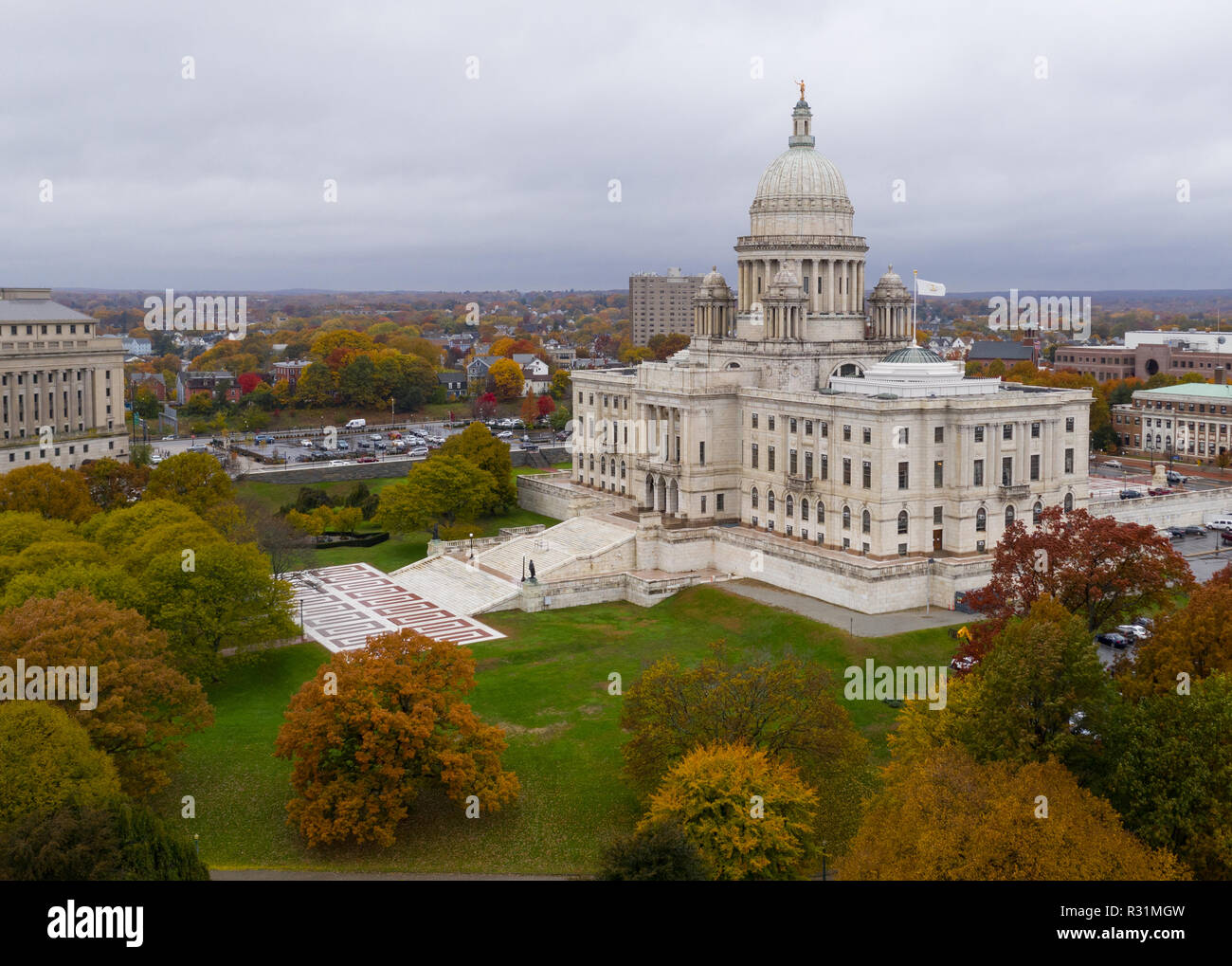 Its an overcast day but the aerial view shows color in the Autumn leaves in Providence RI Stock Photo