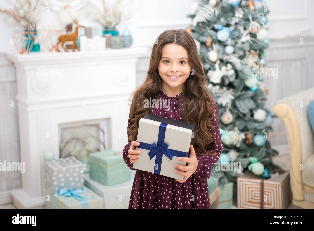 christmas is coming small cute girl received holiday gift best christmas gifts child