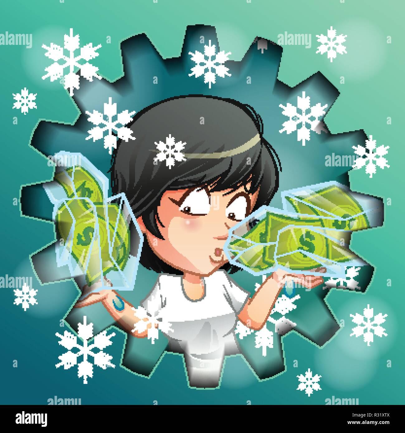 Person is carrying frozen money in ice. - Stock Image