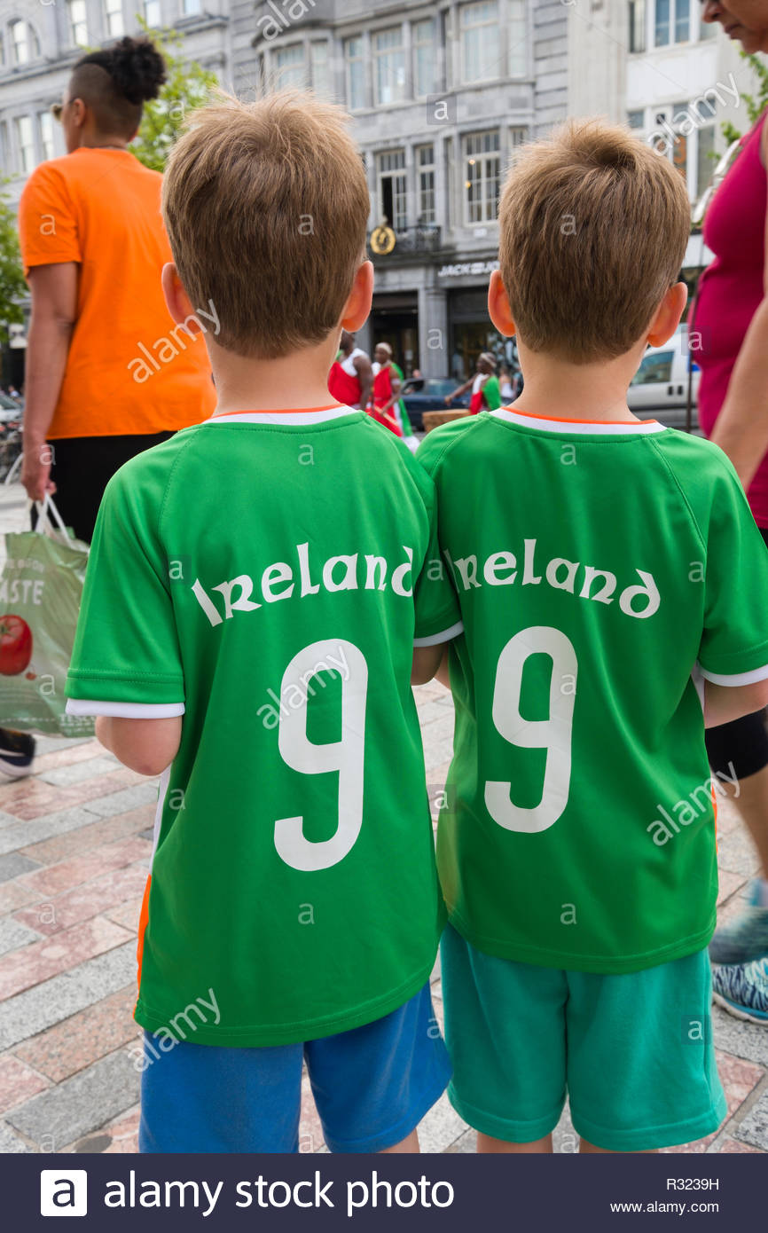 1b01709d17e The backs of twin red head boys wearing Ireland 9 jerseys, Opera Lane,  Centre