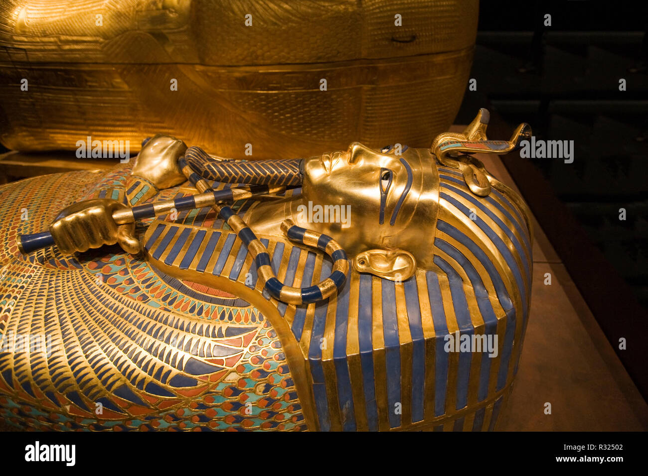 The front of the inner sarcophagus of King Tutankhamun, or King tut, on display at an American museum. - Stock Image