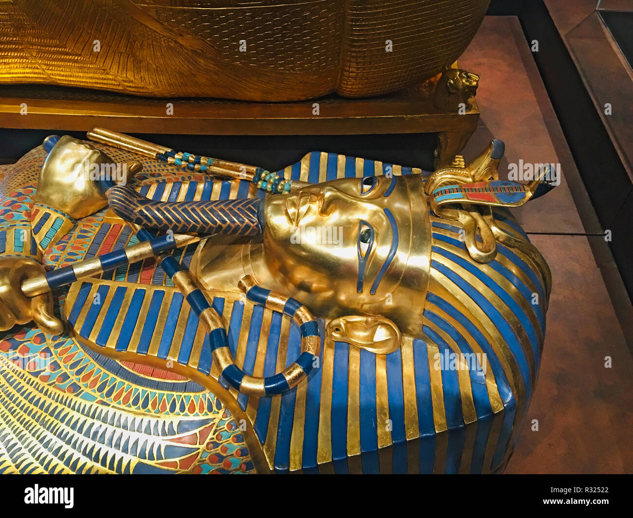 The gold, inner Sarcoghagus in the casket of King Tutankhamun, found in his tomb in the Valley of the Kings, Egypt. - Stock Image