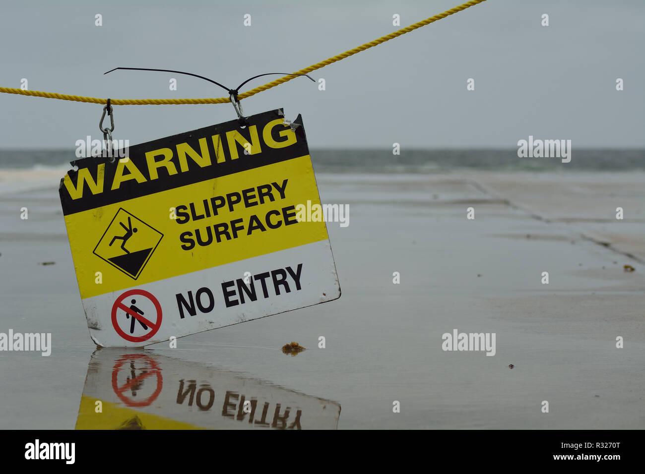 Slippery Surface Warning Sign - Stock Image