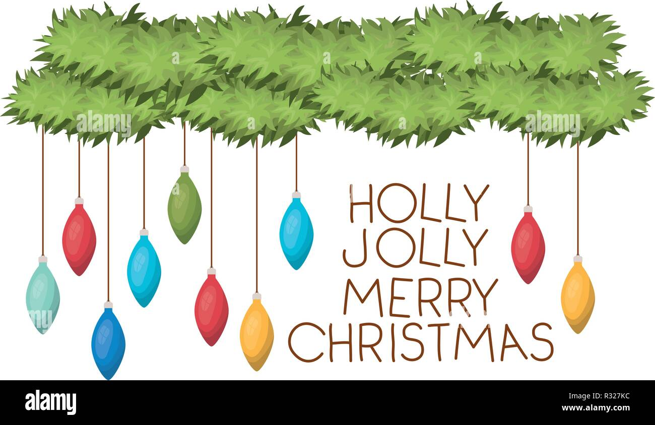 holly jolly merry christmas time and garland with christmas balls - Stock Image