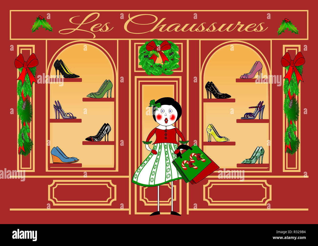 Christmas Shopping at Les Chaussures - Stock Image