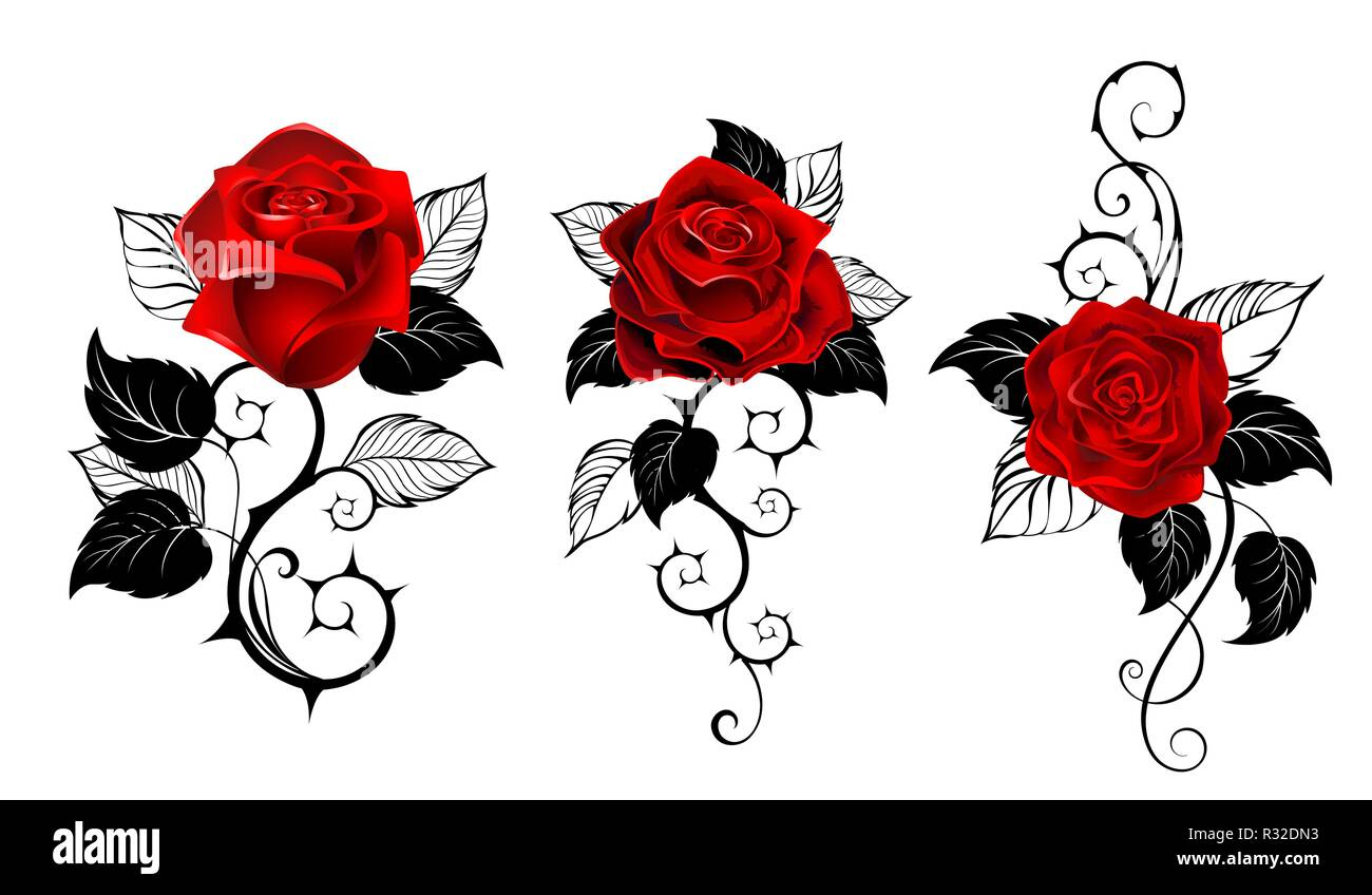 Three Artistically Painted Red Roses With Black Spiny Stems And