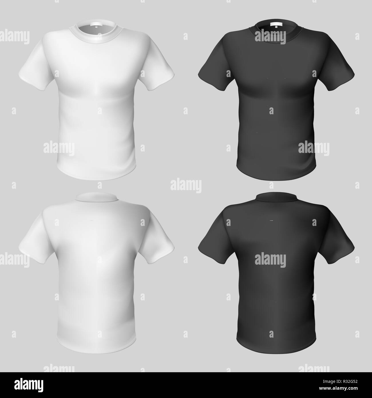 T Shirt Design Template Front And Back Black And White Stock