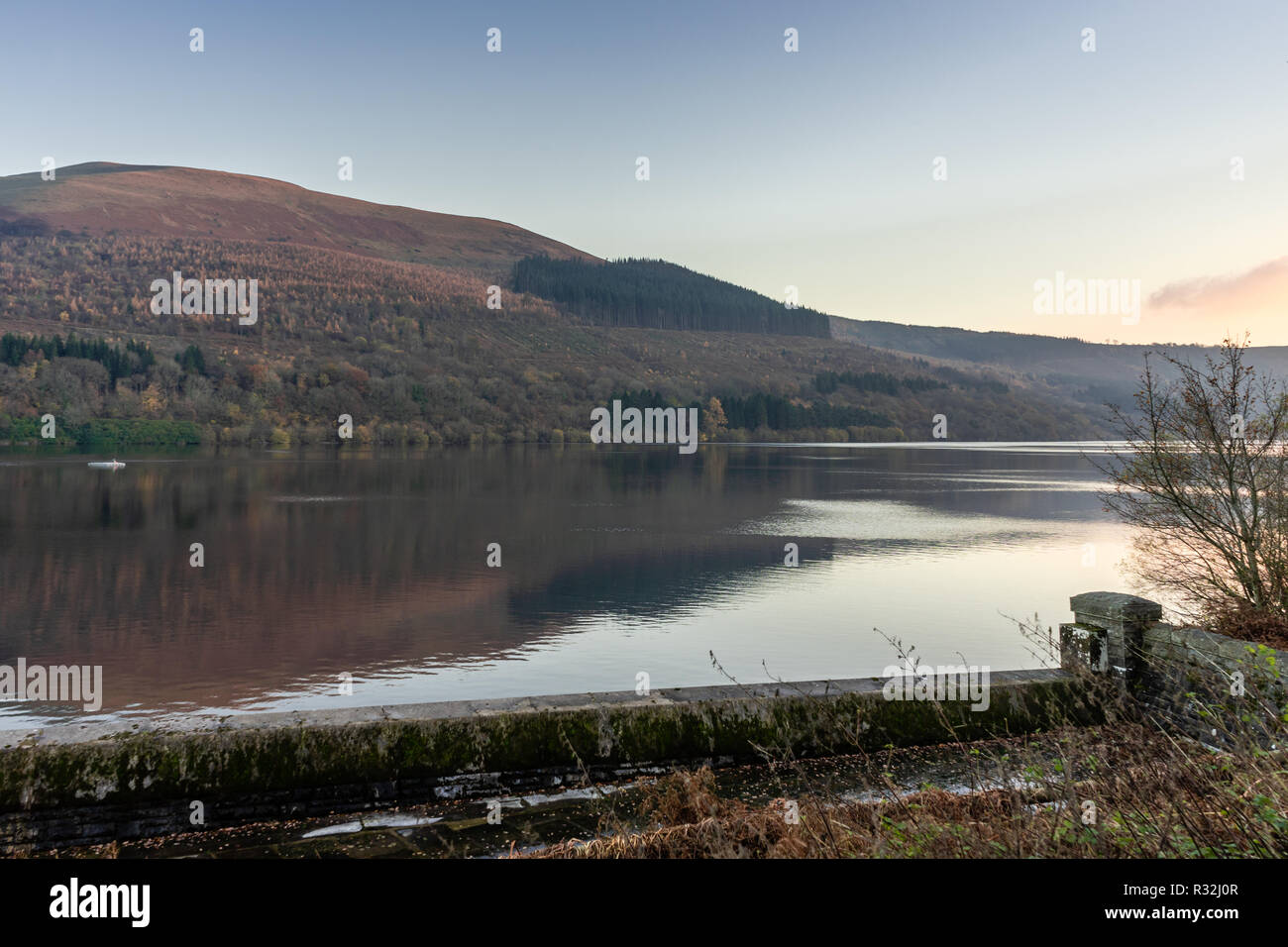 Scenic view across the Talybont Reservoir in the Brecon Beacons during autumn, Powys, Wales, UK - Stock Image