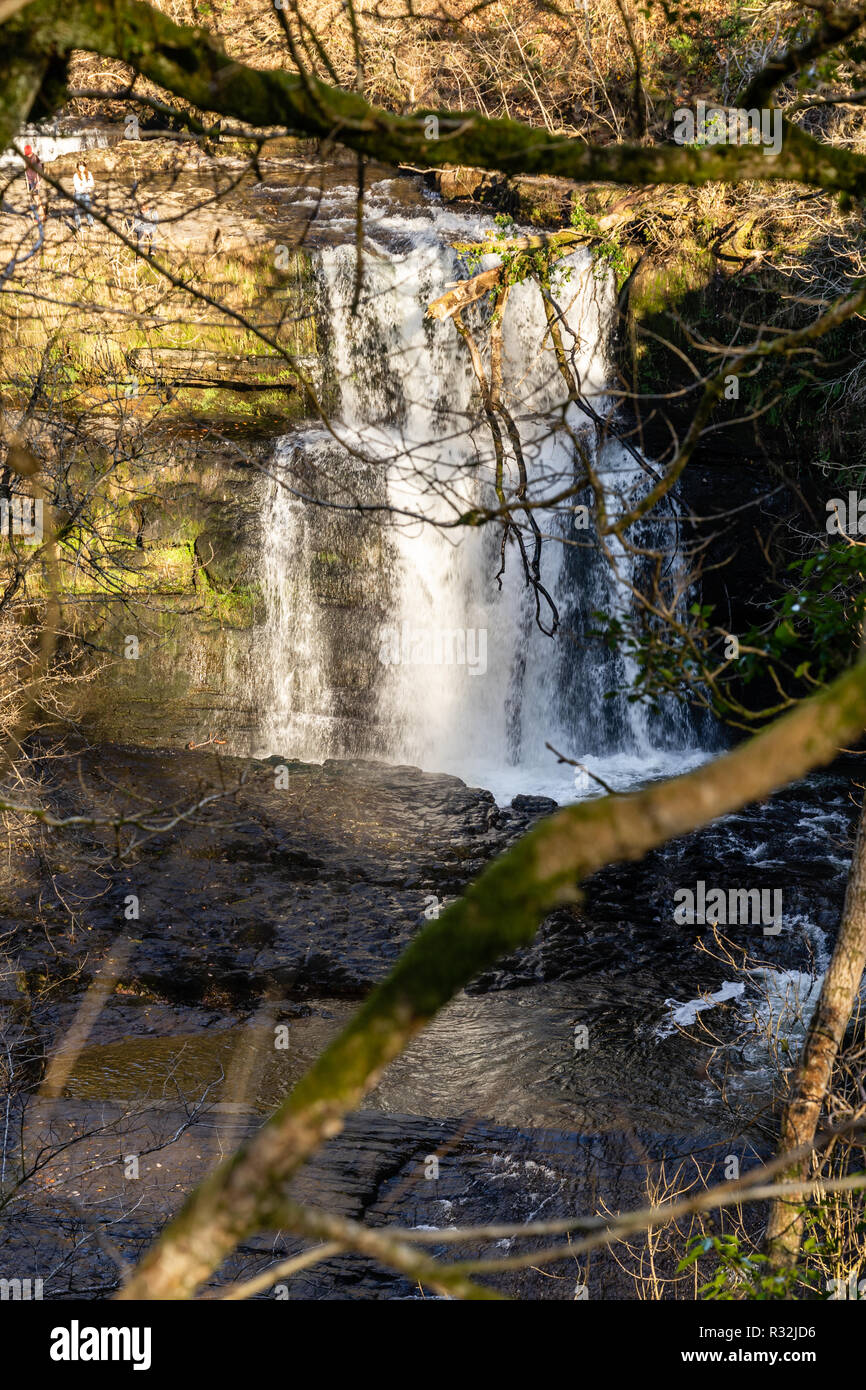 The sgwd clun-gwyn waterfall in the Fforest Fawr Geopark in the Brecon Beacons, Powys, Wales, UK Stock Photo
