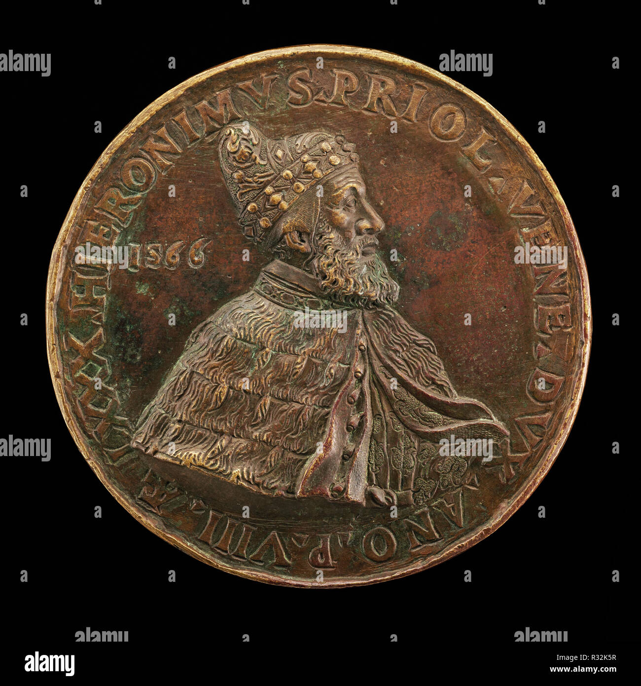 Girolamo Priuli, 1486-1567, Doge of Venice 1559 [obverse]. Dated: 1566. Dimensions: overall (diameter): 9.73 cm (3 13/16 in.)  gross weight: 320.65 gr (0.707 lb.)  axis: 12:00. Medium: bronze//Much tooled. Museum: National Gallery of Art, Washington DC. Author: Italian 16th Century. - Stock Image