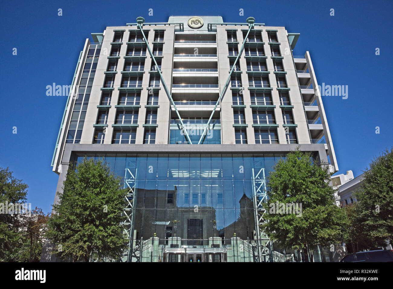 The RSA Dexter Avenue Tower a high rise office building from low angle in downtown Montgomery Alabama, USA. - Stock Image