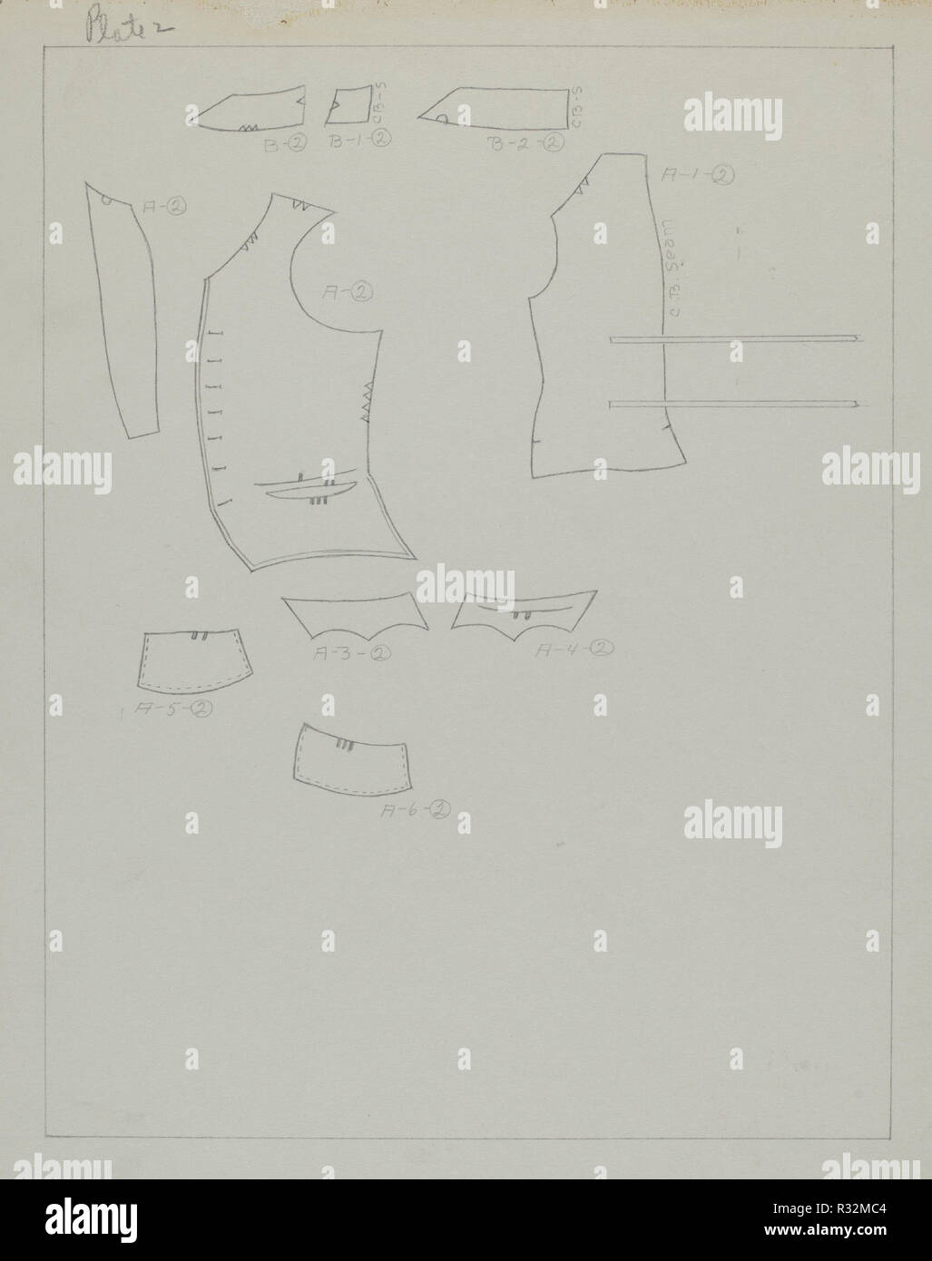 Suit Pattern. Dated: c. 1938. Dimensions: overall: 29.2 x 22.9 cm (11 1/2 x 9 in.). Medium: graphite on paper. Museum: National Gallery of Art, Washington DC. Author: Henry De Wolfe. - Stock Image