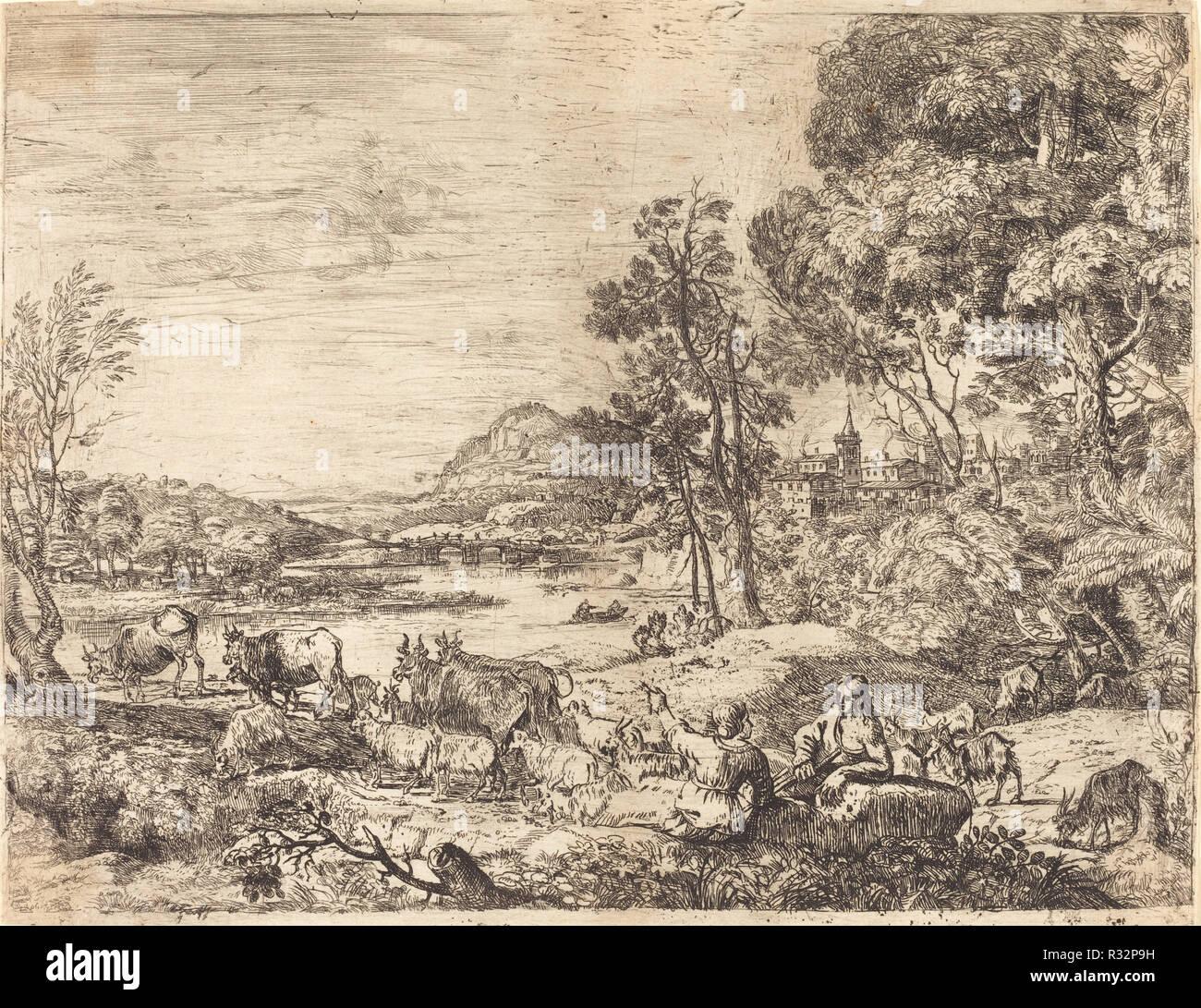 Shepherd and Shepherdess Conversing in a Landscape (Berger et bergère  conversant). Dated: