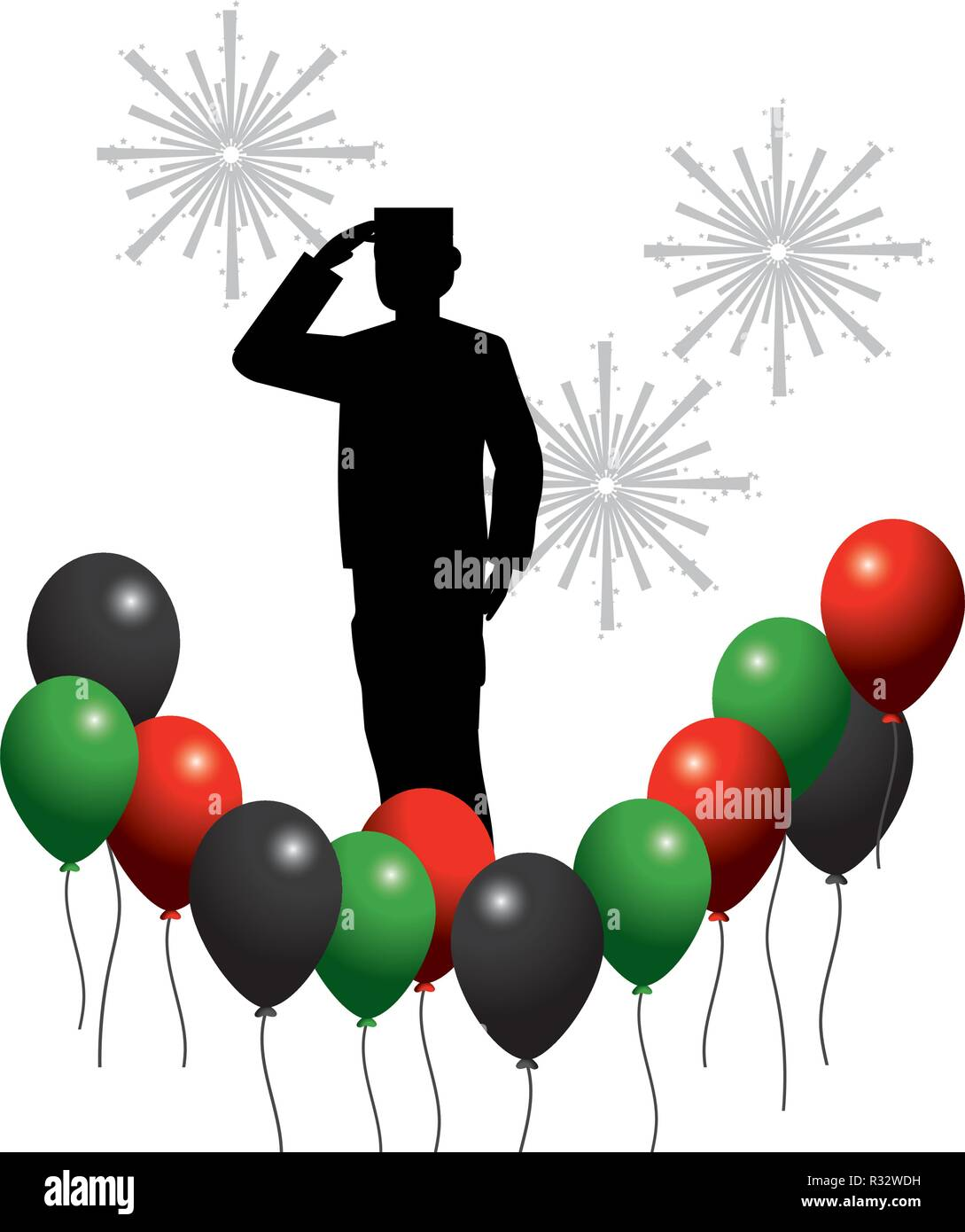 united arab emirates balloons with flag colors and soldier with gundpowder cartoon vector illustration graphic design Stock Vector