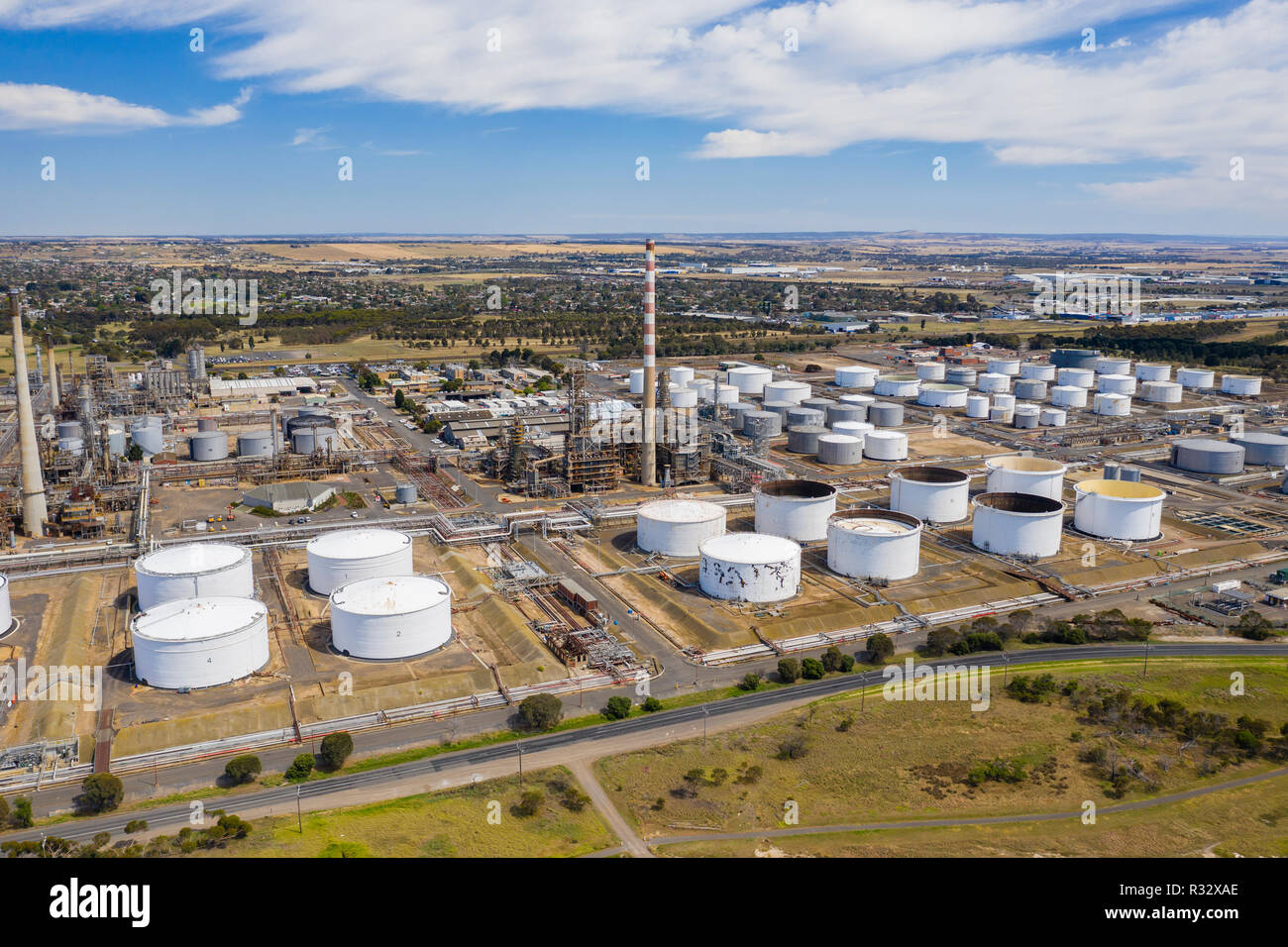 Aerial photo of an oil refinery Stock Photo