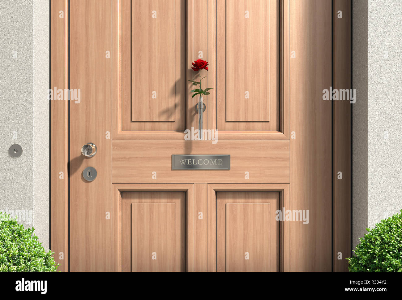 wood-house door with rose - Stock Image