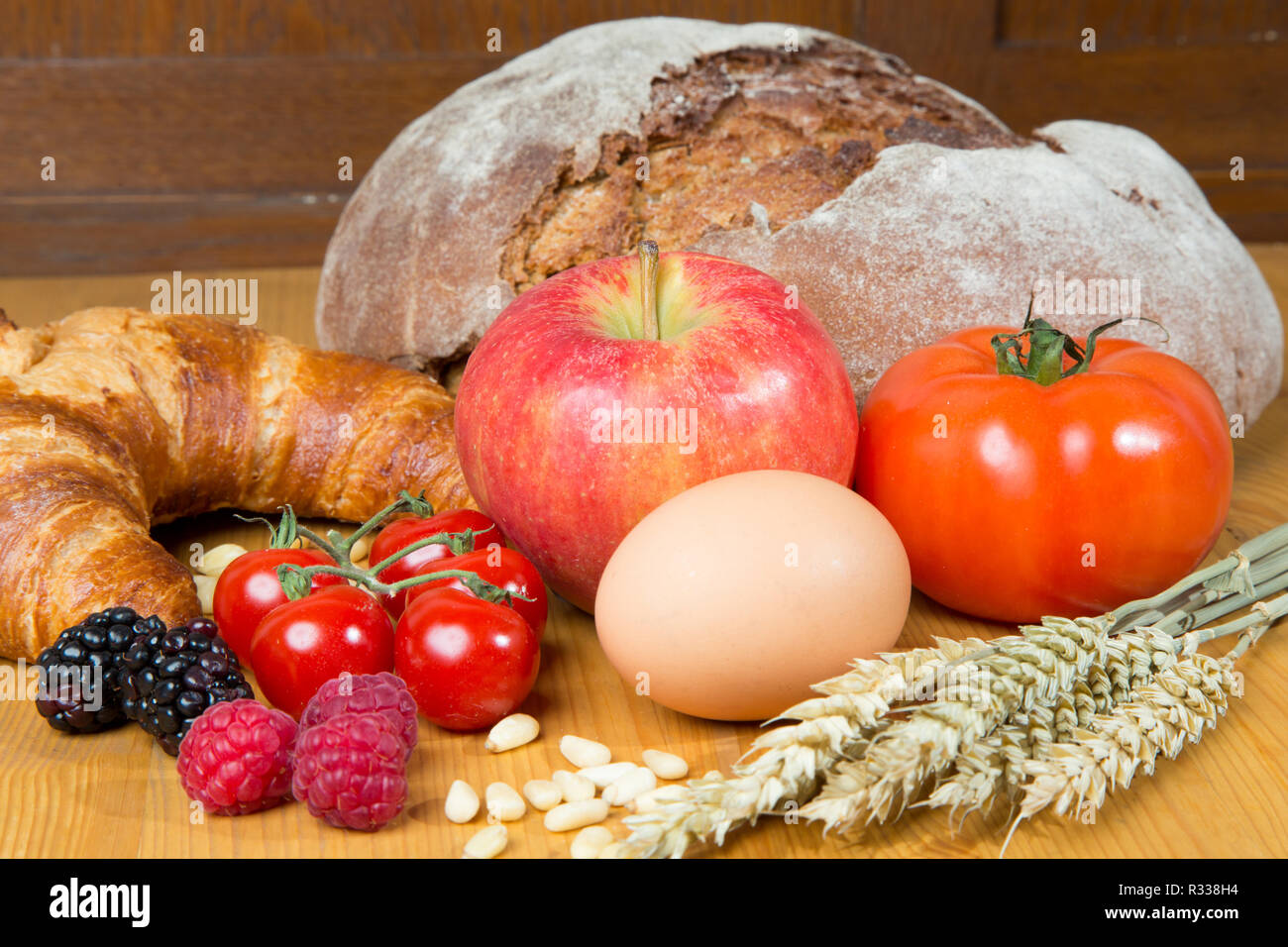various types of bread and various foods - Stock Image