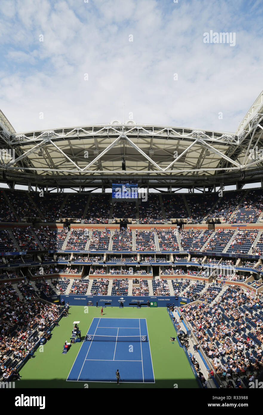 Arthur Ashe Stadium at the Billie Jean King National Tennis Center during 2018 US Open tournament in New York - Stock Image