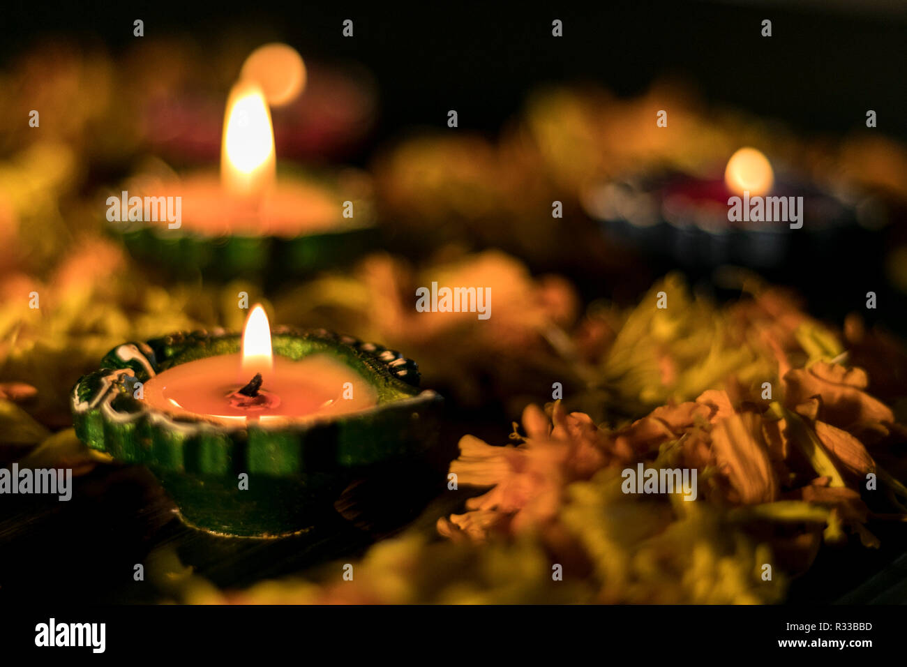 Diya lit for greeting card to celebrate diwali and dhanteras in India Stock Photo
