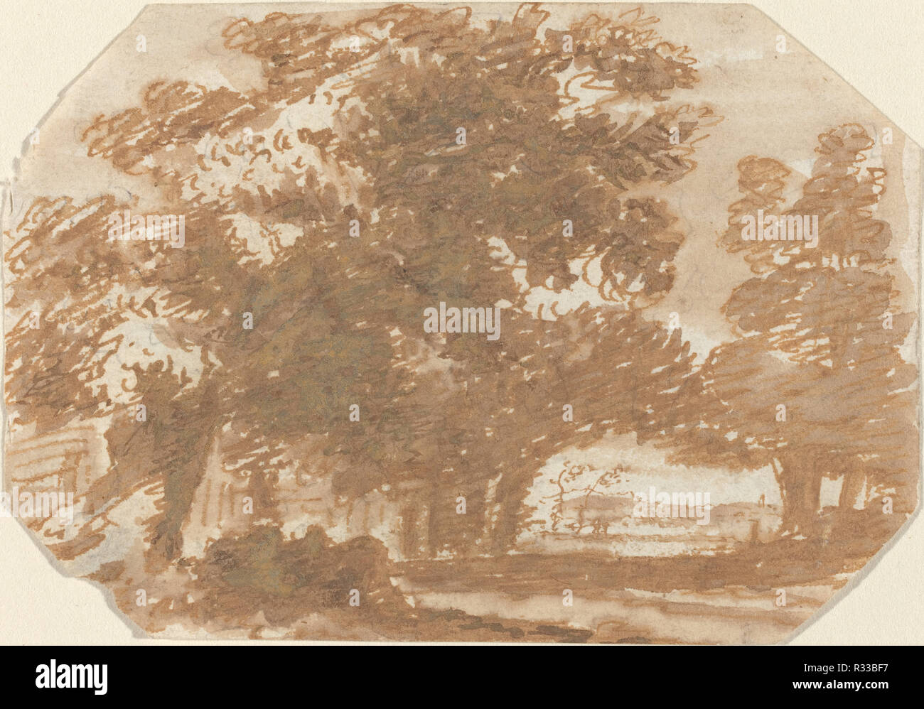 Grove of Trees. Dated: c. 1640. Dimensions: overall: 8.5 x 12.4 cm (3 3/8 x 4 7/8 in.). Medium: pen and brown ink with gray wash on laid paper. Museum: National Gallery of Art, Washington DC. Author: Claude Lorrain. - Stock Image