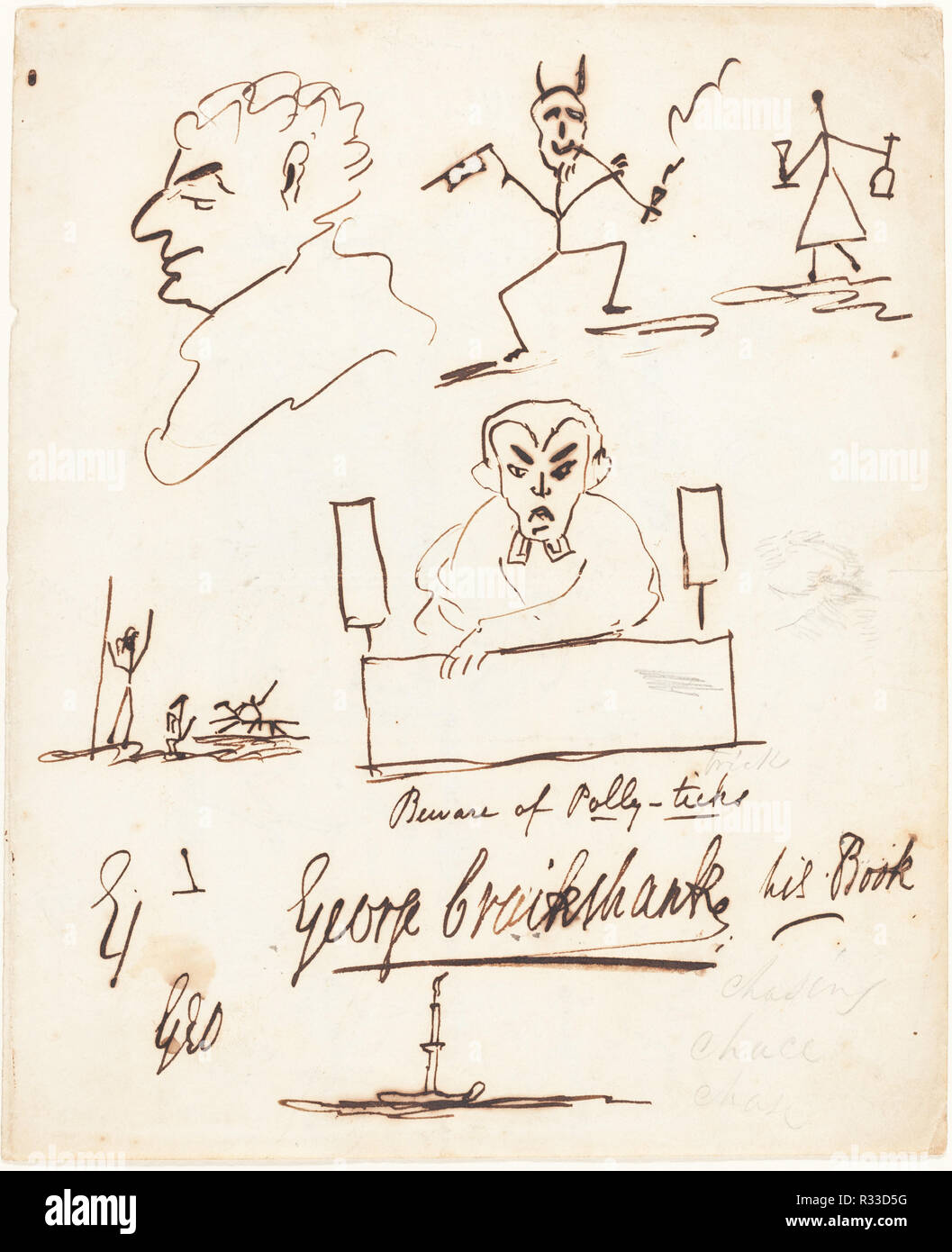 Satirical Sketches. Dimensions: Overall (approximate): 23.1 x 19 cm (9 1/8 x 7 1/2 in.)  support: 40.7 x 30.5 cm (16 x 12 in.). Medium: pen and brown ink and graphite. Museum: National Gallery of Art, Washington DC. Author: George Cruikshank. Stock Photo