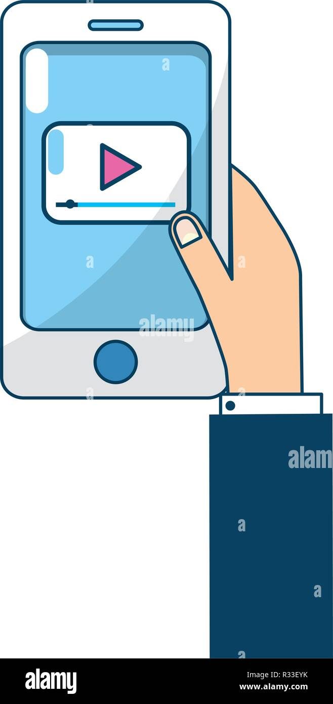 technology smartphone reproducing media player with hand cartoon vector illustration graphic design - Stock Image