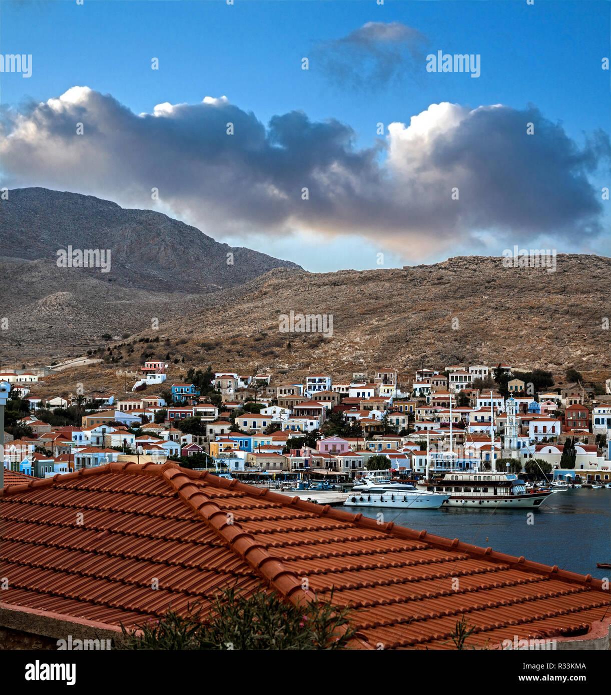 Greek islands. The port of Halki island - Stock Image