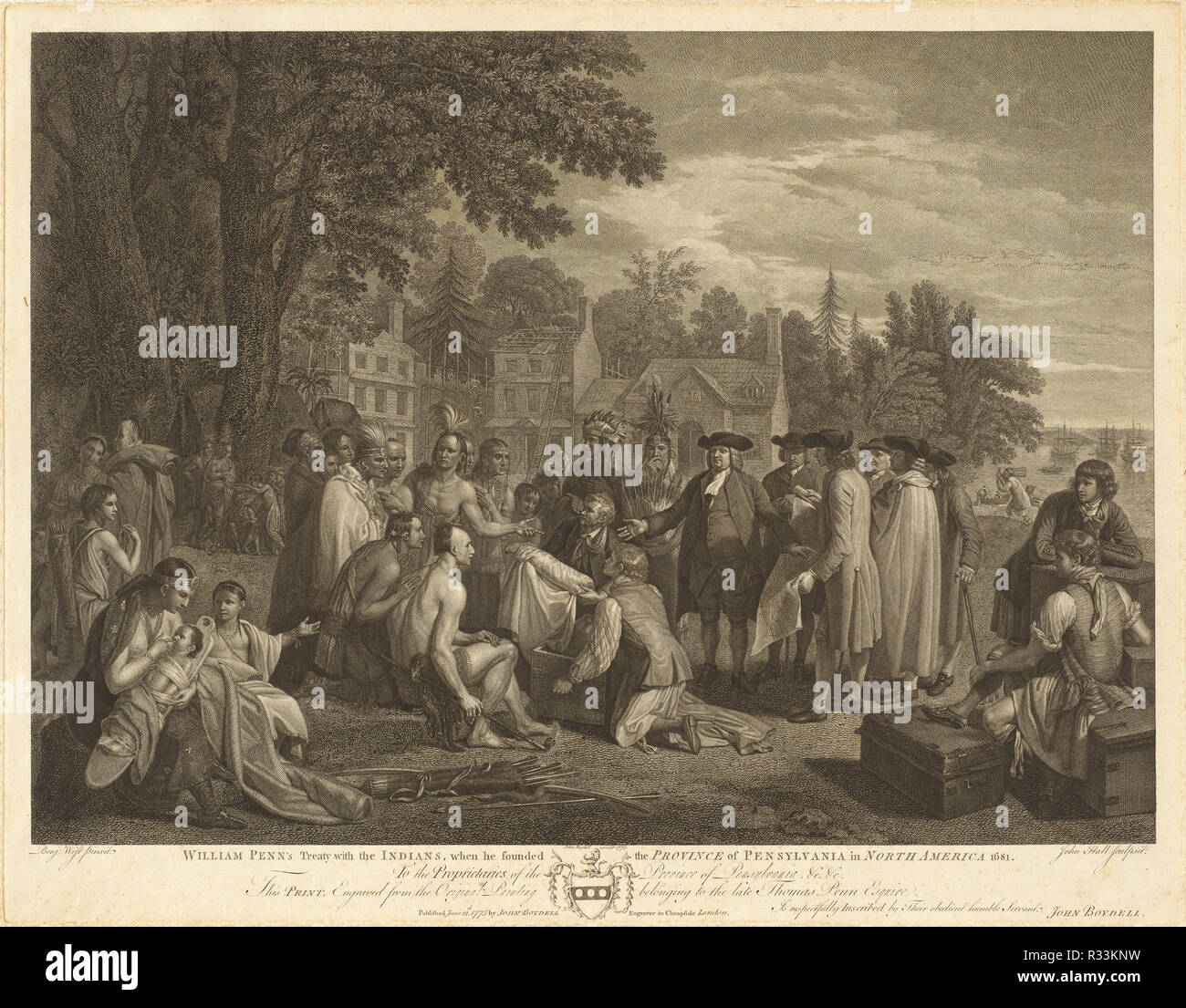 William Penn's Treaty with the Indians. Dated: 1775. Dimensions: image: 42.55 × 58.74 cm (16 3/4 × 23 1/8 in.)  sheet: 48.9 × 62.39 cm (19 1/4 × 24 9/16 in.). Medium: engraving. Museum: National Gallery of Art, Washington DC. Author: John Hall after Benjamin West. Benjamin West. Stock Photo