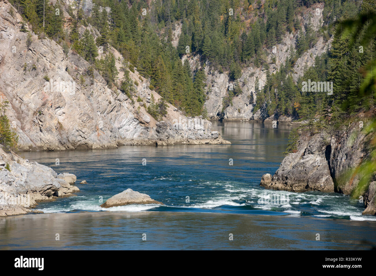 A remaining rapid at the site of the mainly submerged Metaline Falls on the Pend Oreille River, Idaho. - Stock Image