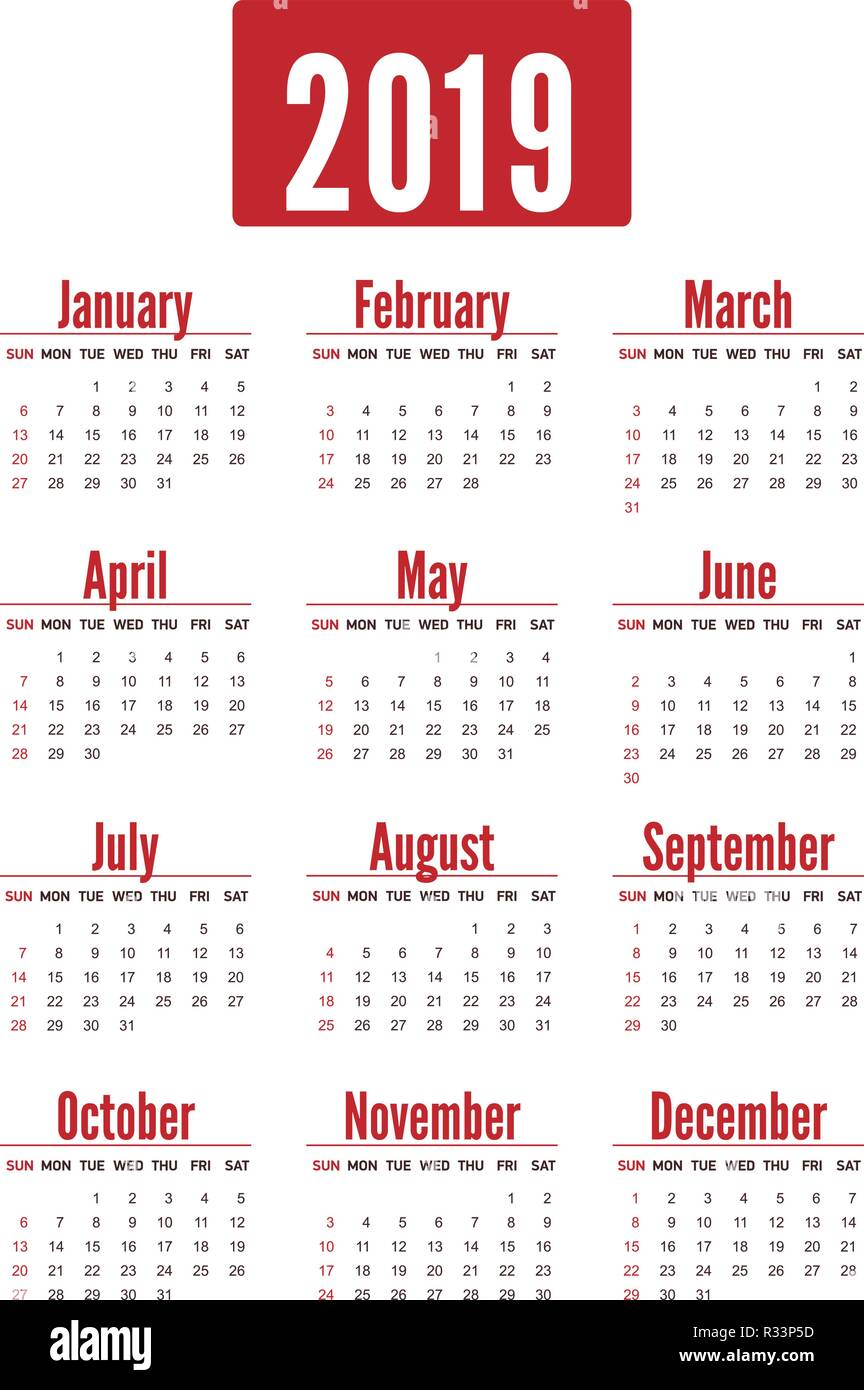 Pocket Calendar.Simple Vertical Red Calendar Layout For 2019 Years Week Starts From