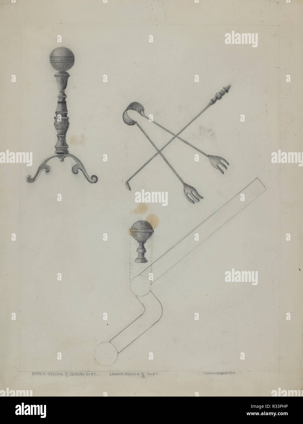 Andiron and Fireplace Set. Dated: 1935/1942. Dimensions: overall: 35.5 x 27.9 cm (14 x 11 in.). Medium: graphite on paper. Museum: National Gallery of Art, Washington DC. Author: Ludmilla Calderon. - Stock Image