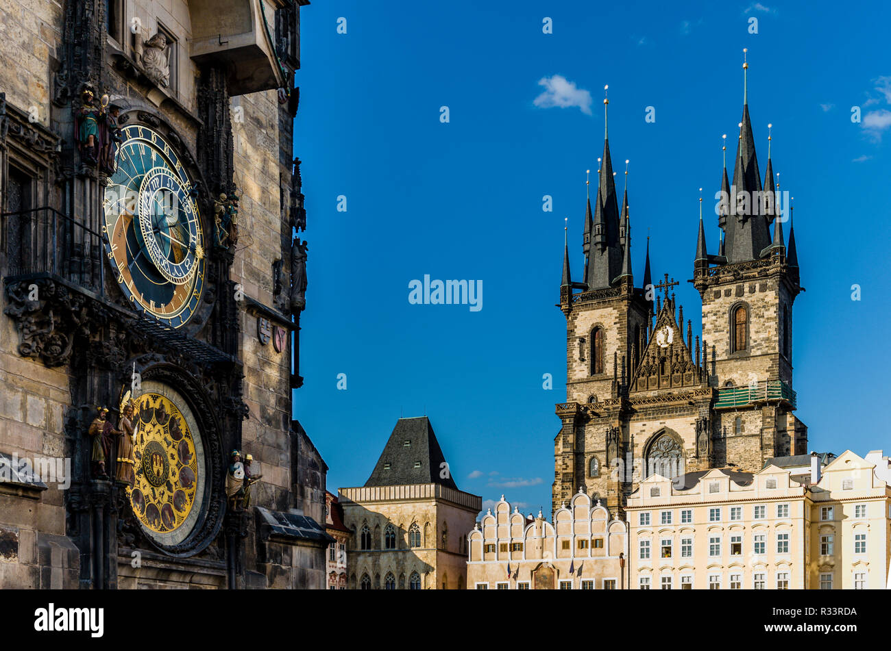 """Prazsky orloj"", the astronomical clock of Prague's town hall, with the towers of ""Tynsky chram"", the Tyn Church, in the background Stock Photo"