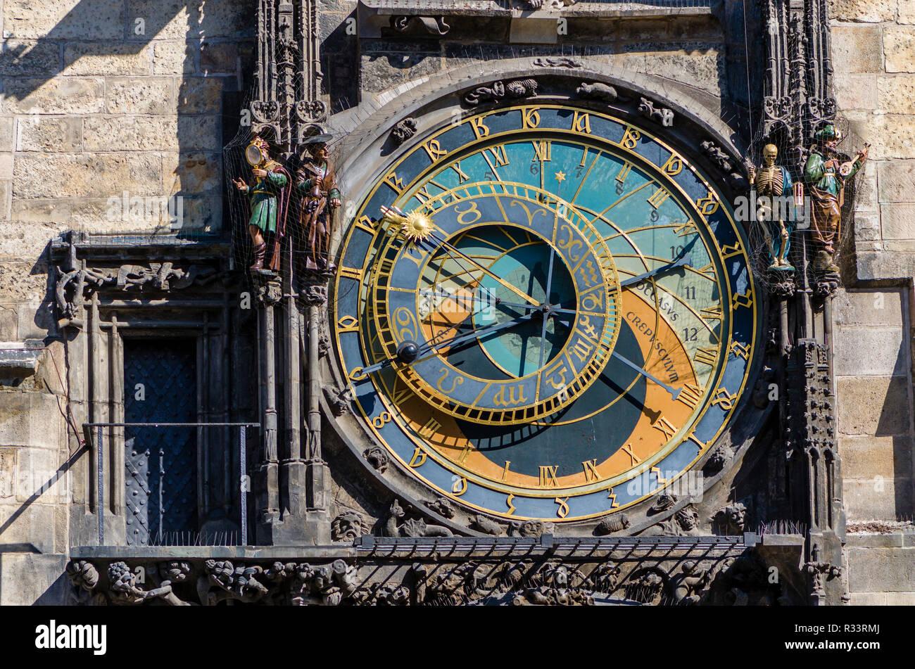 """Prazsky orloj"", the astronomical clock of Prague's town hall, was built in 1410 by royal clockmaker Mikulas of Kadan Stock Photo"