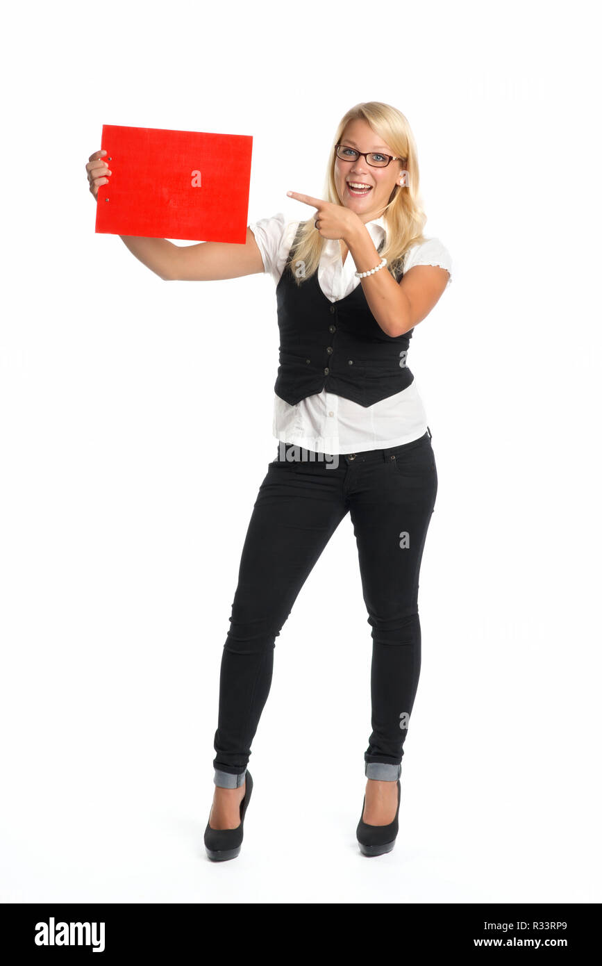 blond woman holding advertising sign - Stock Image
