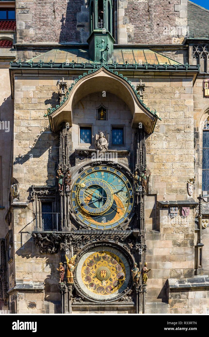 'Prazsky orloj', the astronomical clock of Prague's town hall, was built in 1410 by royal clockmaker Mikulas of Kadan - Stock Image