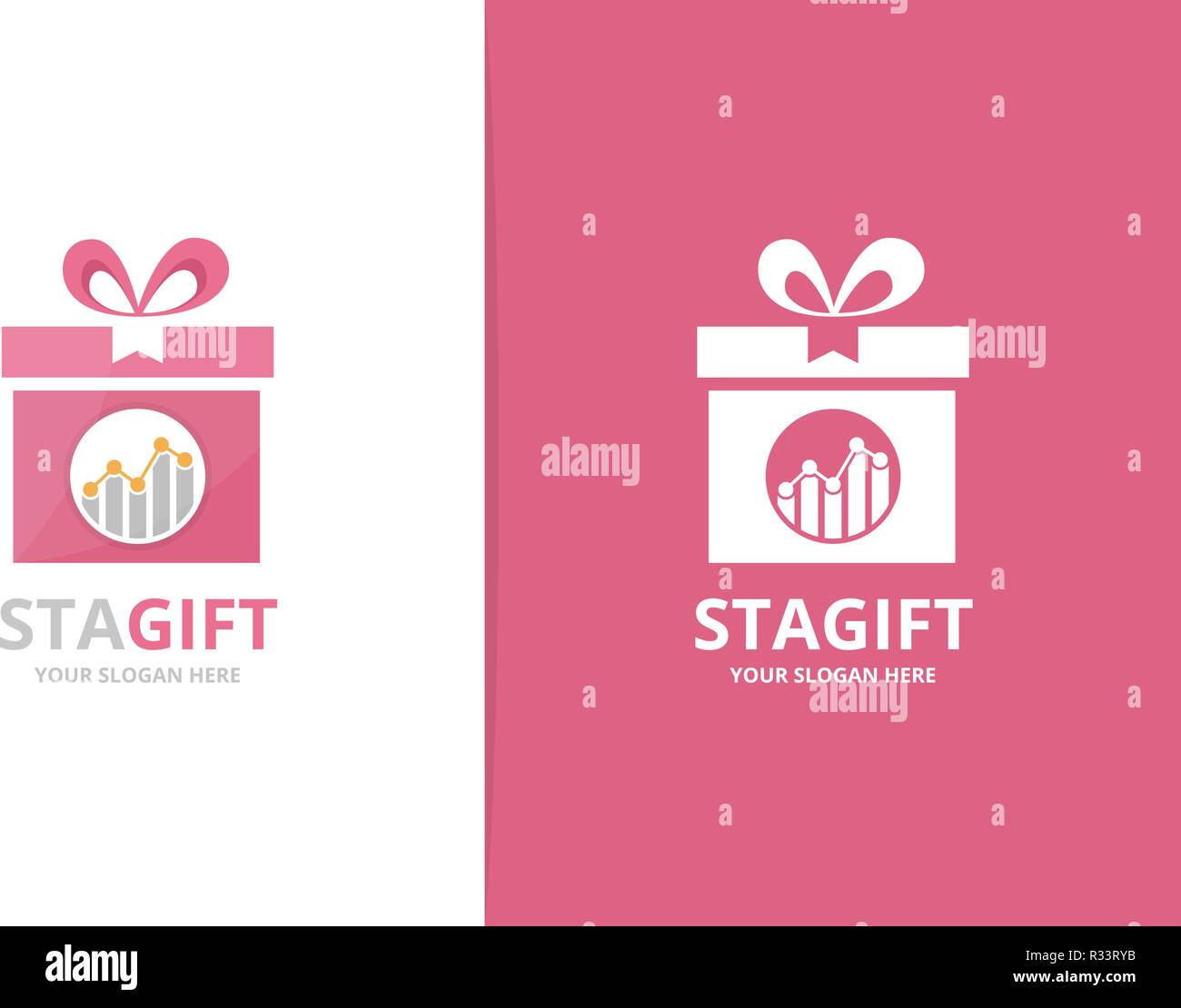 Vector Graph And Gift Logo Combination Diagram And Present Symbol