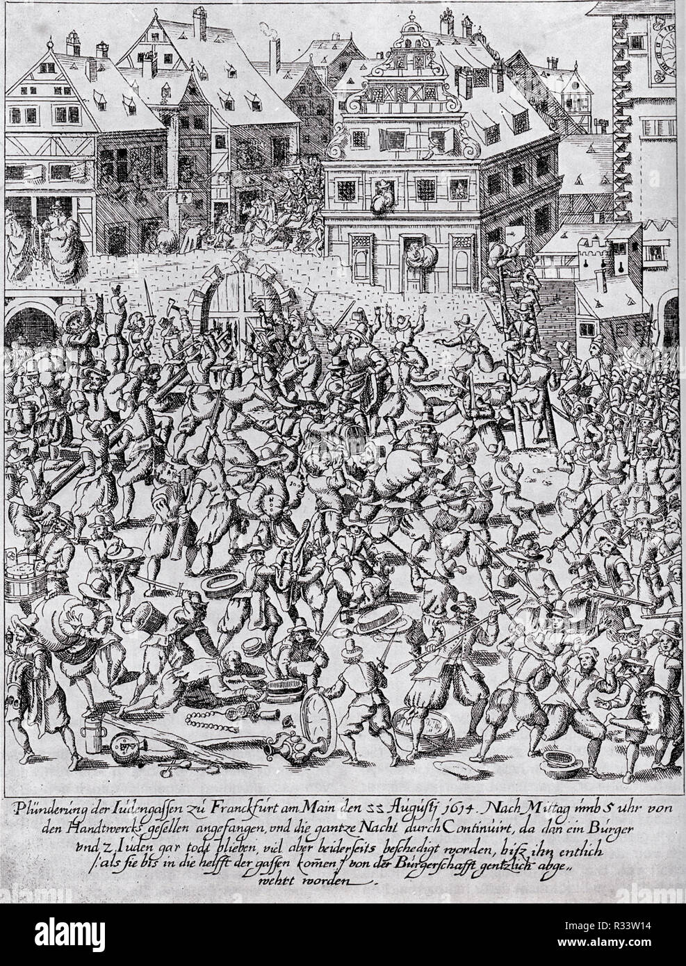 Fettmilch Riot: The plundering of the Judengasse (Jewry) in Frankfurt on August 22, 1614 - Stock Image