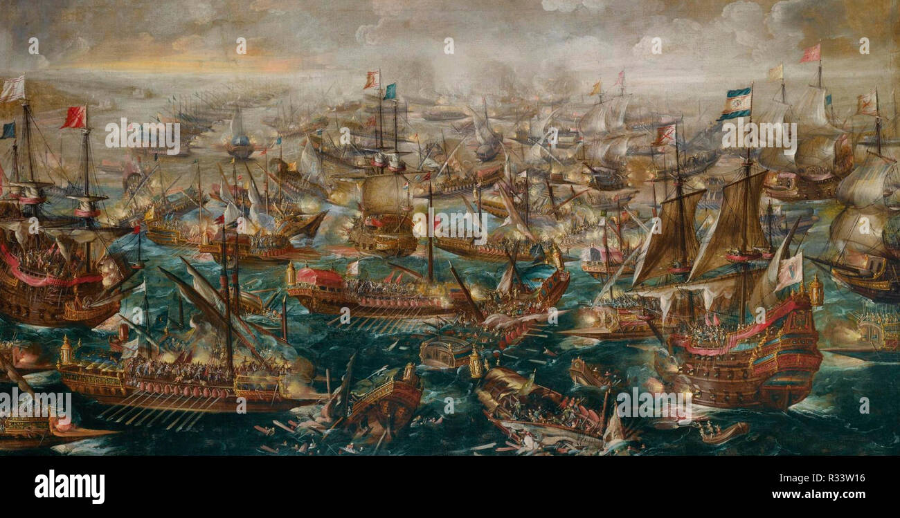 The Battle of Lepanto of 1571 - Andries van Eertvelt - Stock Image