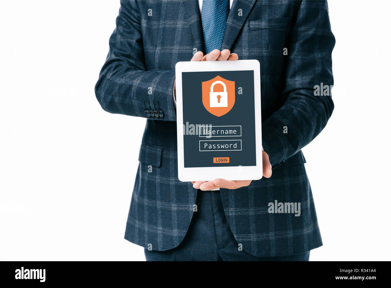 cropped shot of businessman showing tablet with cyber security sign on screen isolated on white Stock Photo