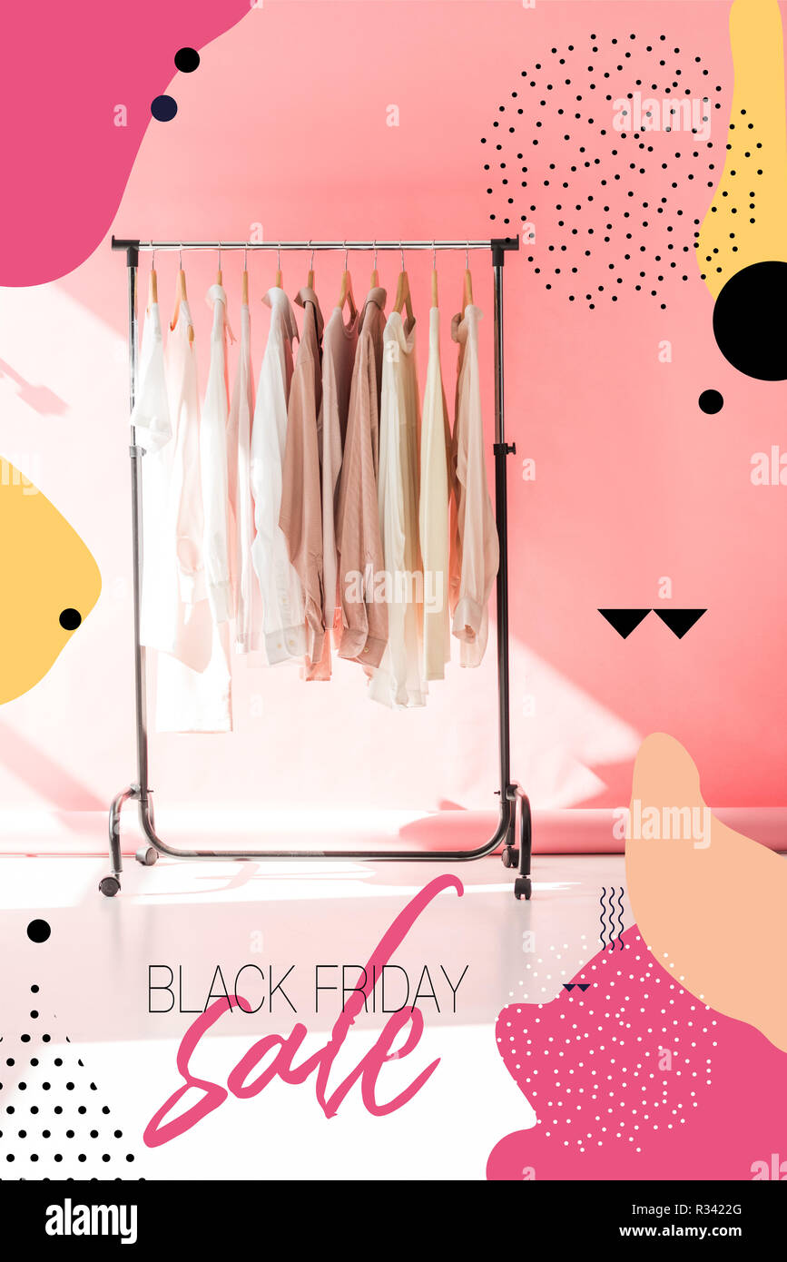 Light Stylish Clothes On Hangers In Pink Boutique Black Friday Sale Banner Concept Stock Photo Alamy