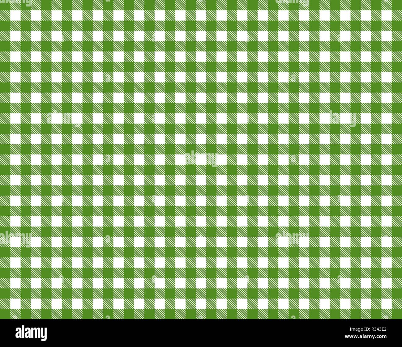 tablecloth with green-white checkered pattern Stock Photo - Alamy