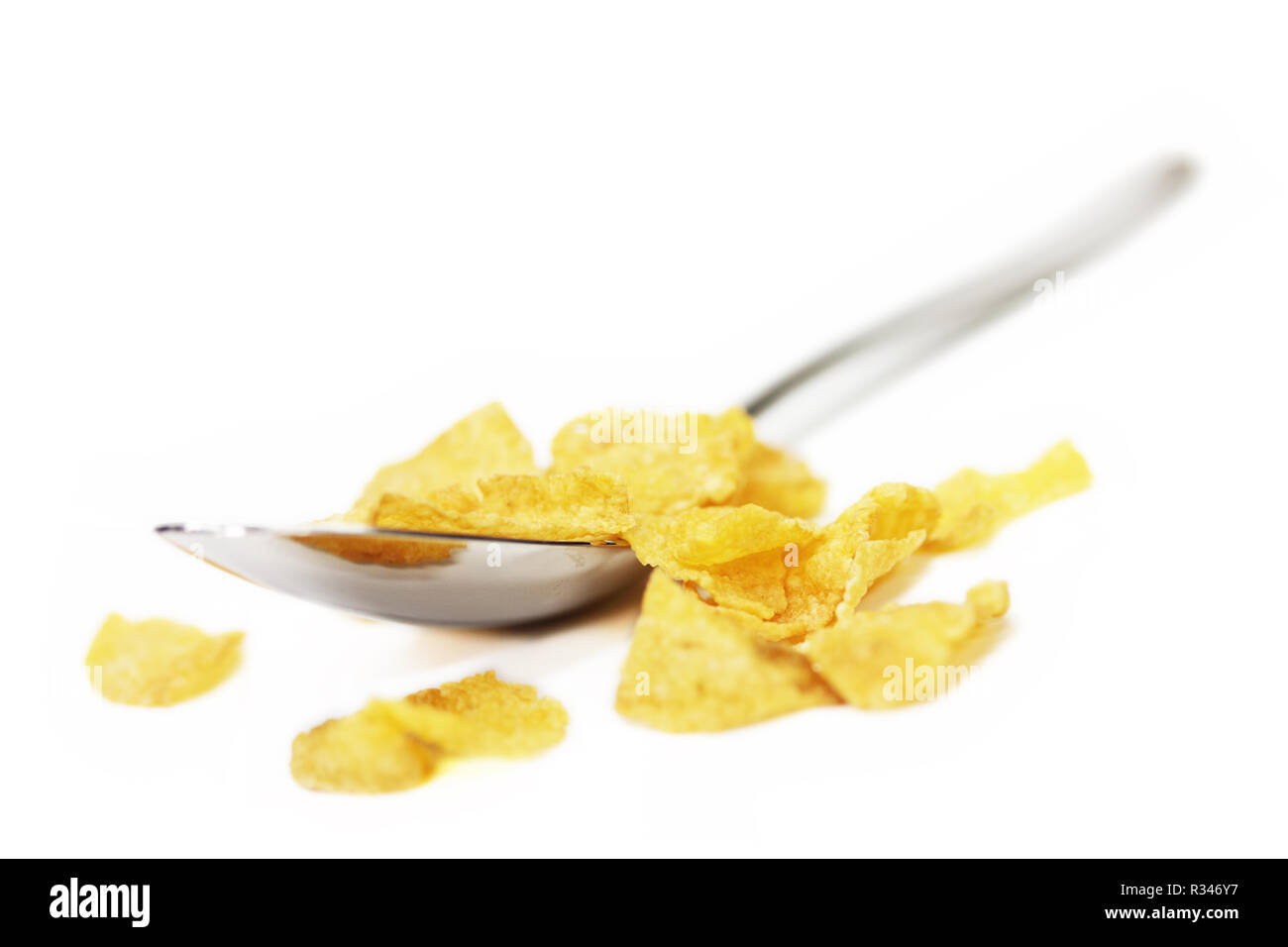 isolated cornflakes Stock Photo