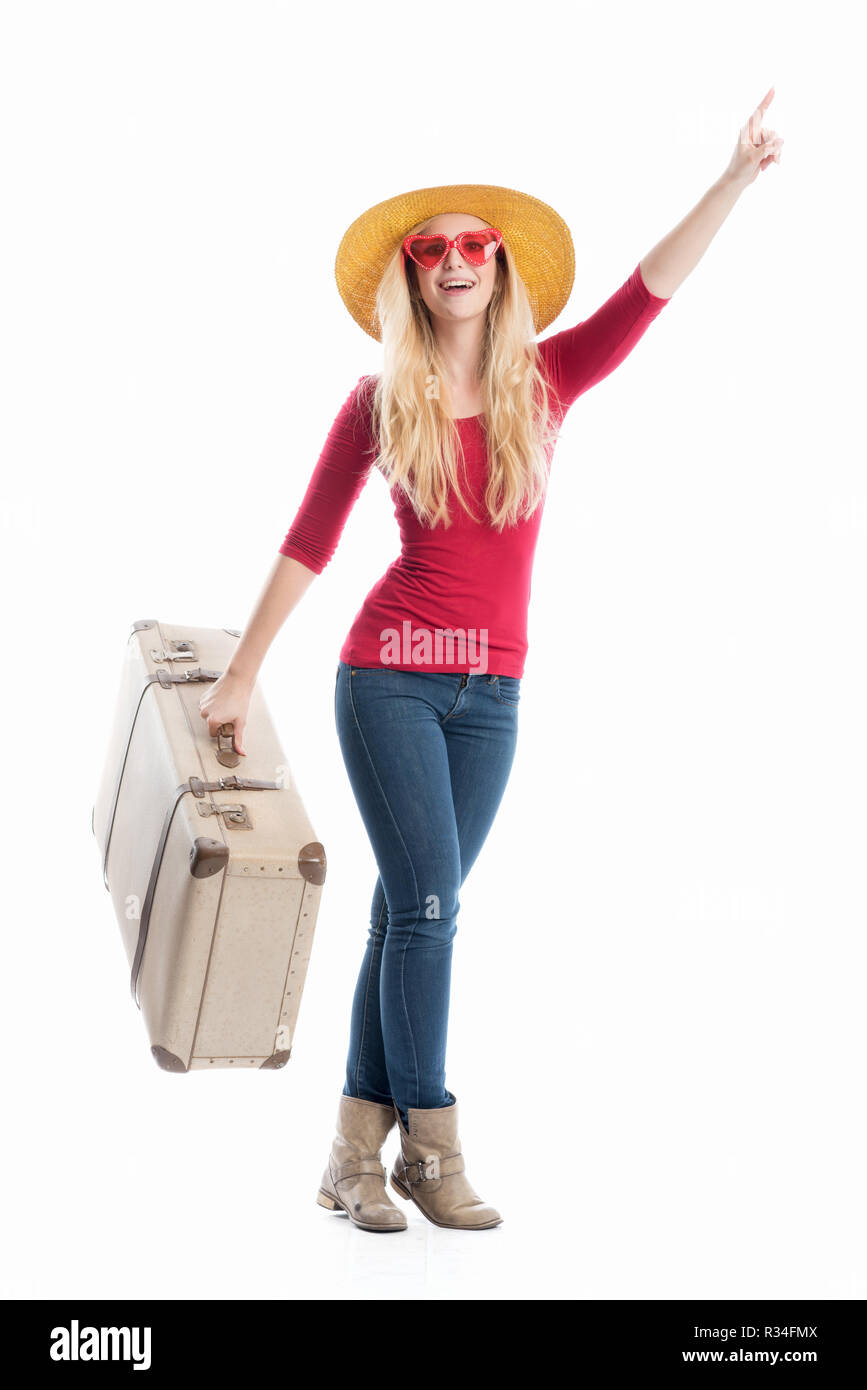 woman with travel suitcase - Stock Image