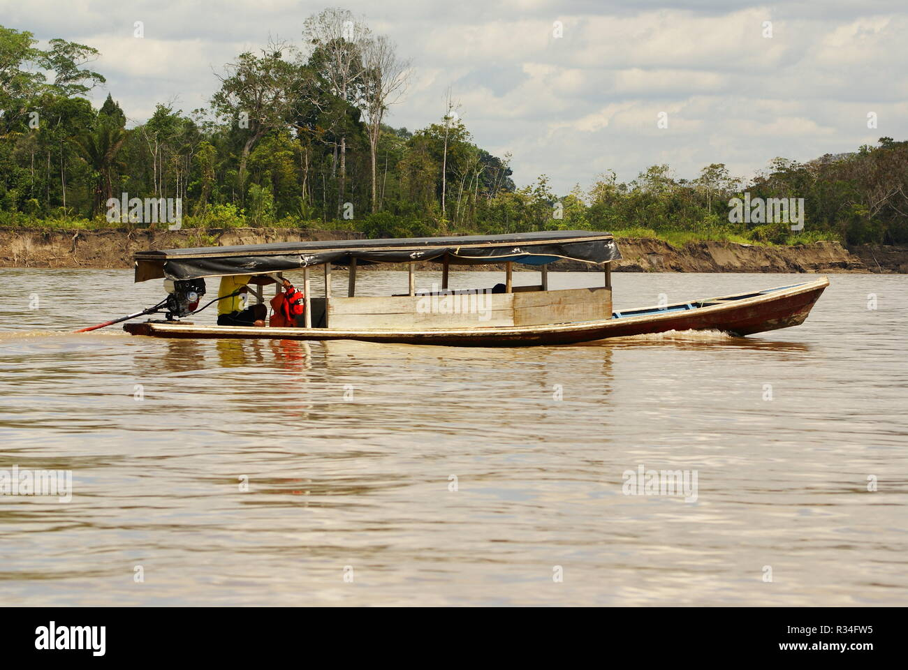 boating on the river,peru amazon - Stock Image