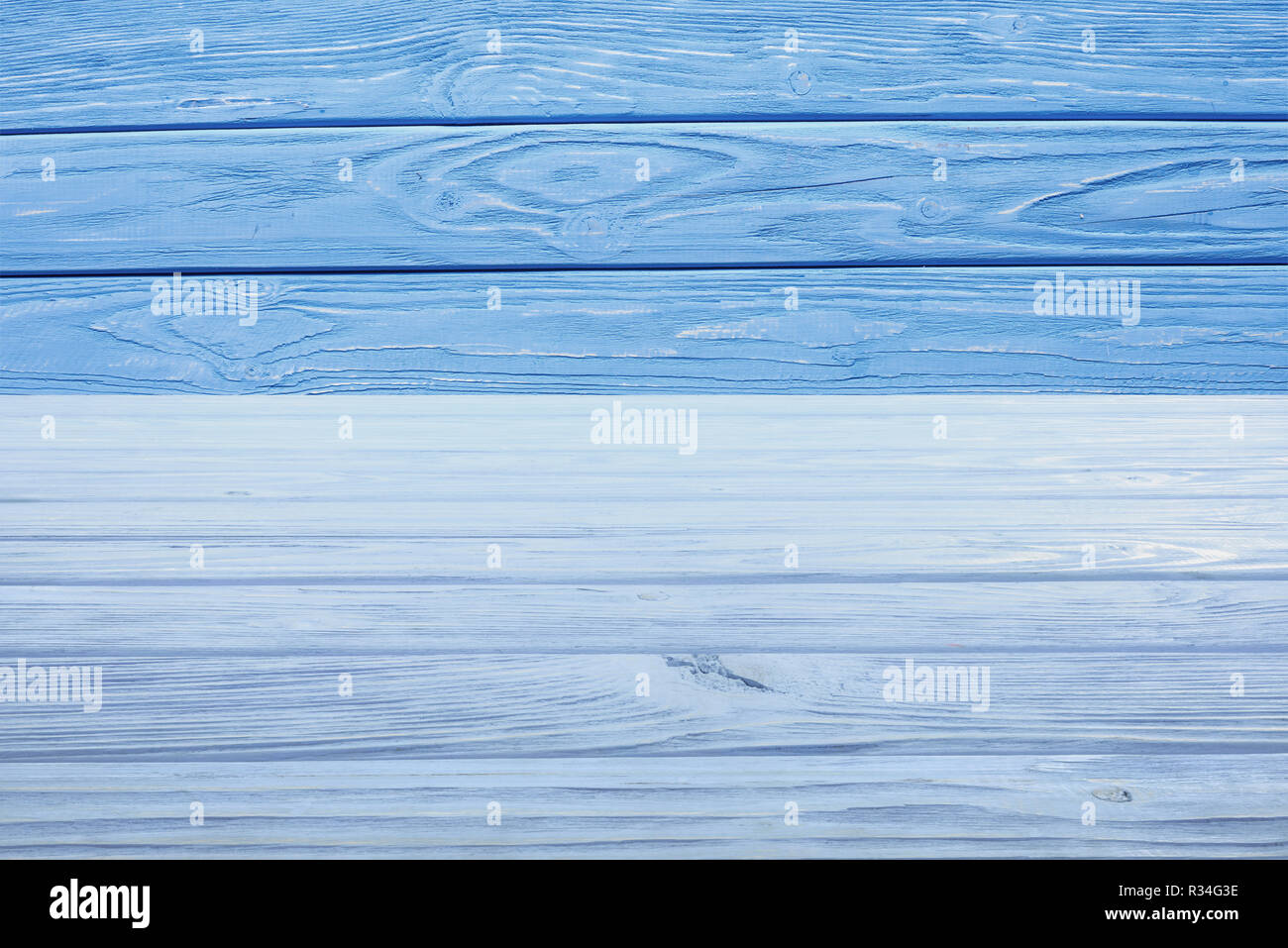 template of light blue wooden floor with blue planks on background - Stock Image