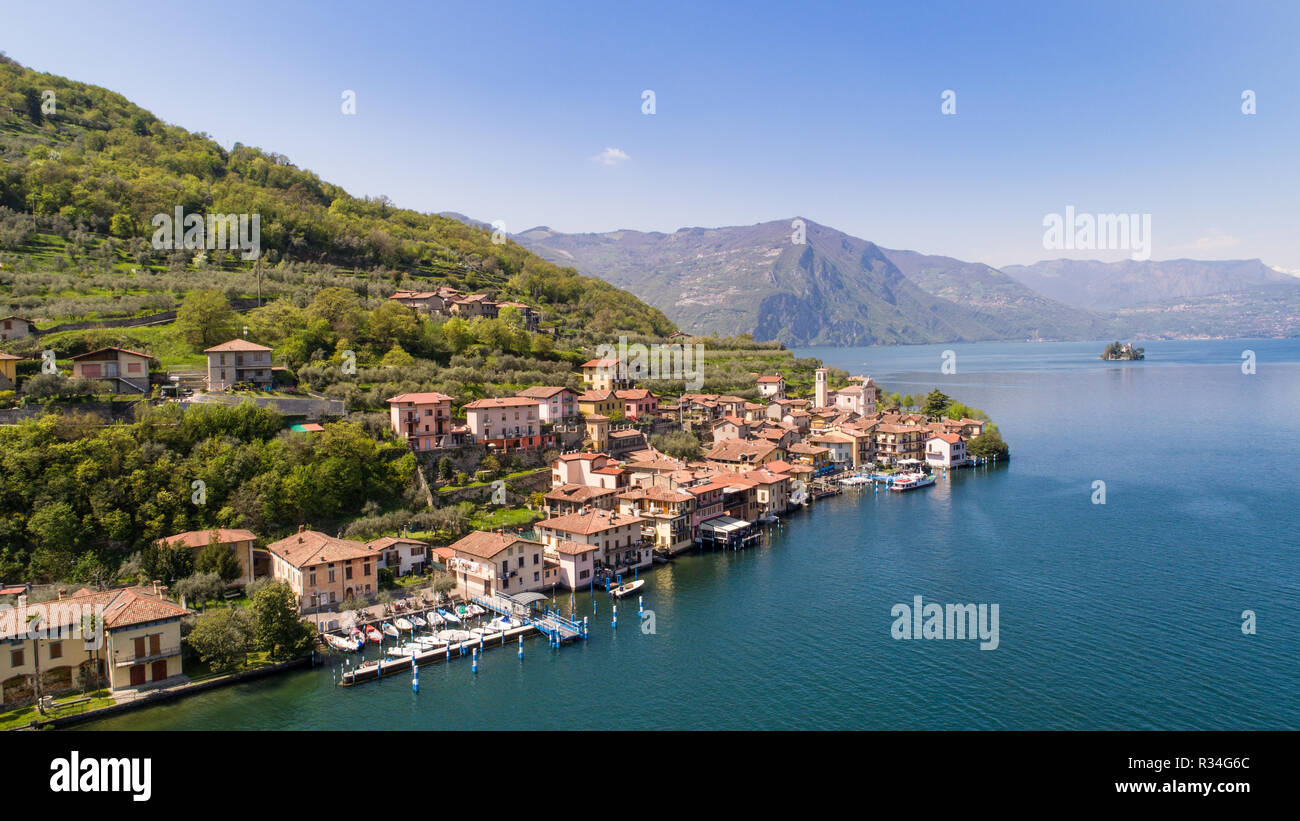 Monte Isola, Iseo Lake. Village of Carzano. Aerial photo - Stock Image